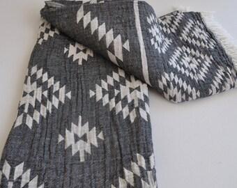 Turkish Towel Rug pattern Peshtemal towel Cotton Peshtemal in dark grey color soft