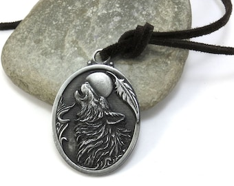 Large Howling Wolf Pendant - Native Wolf Jewelry, Faux Suede Cord