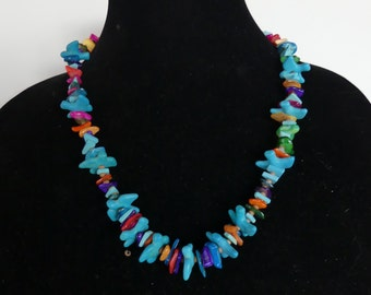 22 Inch Turquoise and Mother of Pearl Necklace with Earrings
