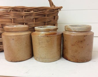 Three Very Old Stoneware Pots~Kitchen Storage~Display~Merchants Jars~Storage Jars~Clay Pots