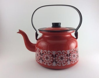Finel Kettle Kaj Franck Arabia Red White and Black Flowers Enamelled Tea Kettle Made in Finland