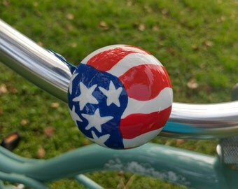 American flag bicycle bell hand painted stars and stripes red white and blue bike bell patriotic art Americana unique biker art metal bell