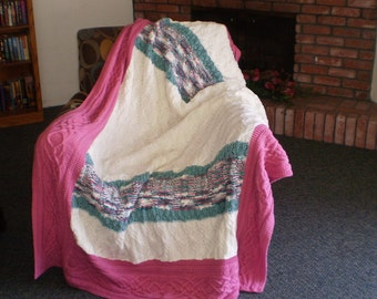 Pink, White & Green Hand Knit Afghan with Cables