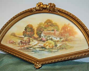 Vintage 1980s, Fan Shaped Picture, Home Interiors Picture, Country Fall Scene Print, Under Glass
