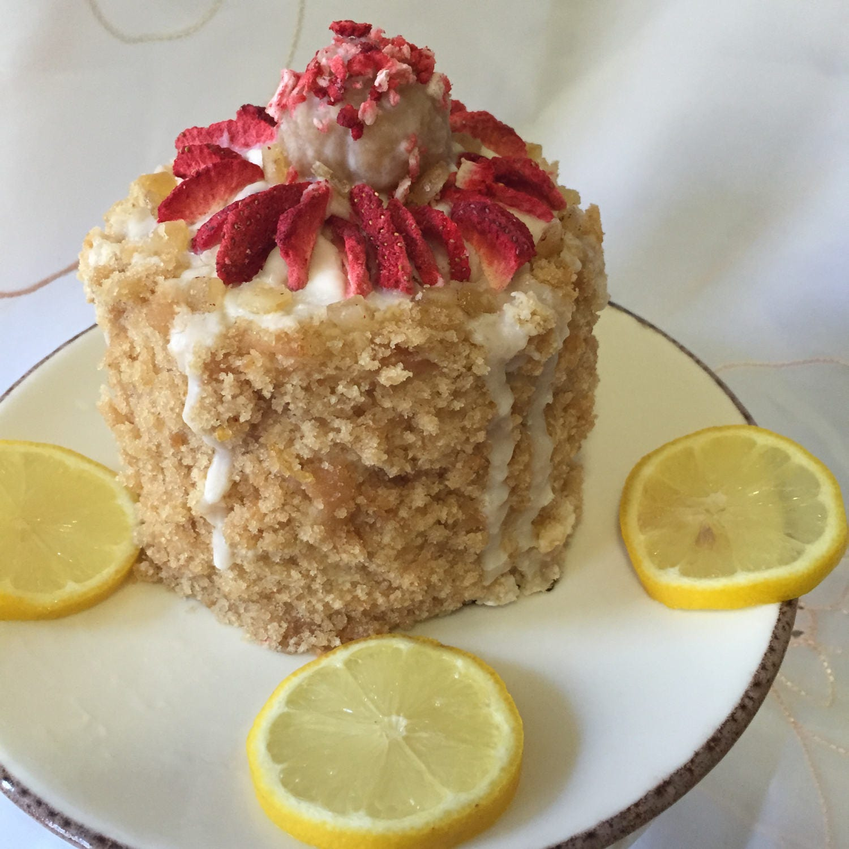 Vegan Gluten Free Mini Lemon Vanilla Strawberry birthday cake