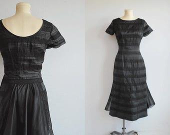 Vintage 50s Dress / 1950s Black Silk Lace Wiggle Dress with Sheer Overskirt Train / LBD Little Black Dress