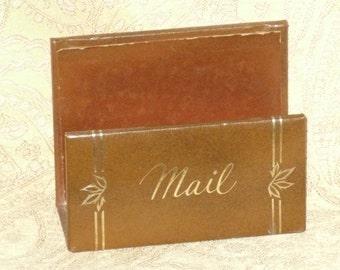 Mail Letter Holder Desk Caddy Faux Leather Vintage Office Organizer
