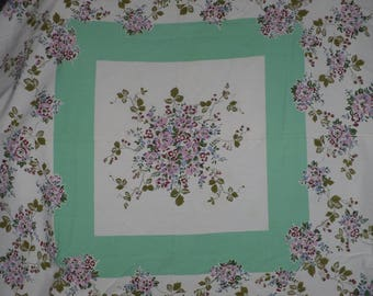Floral Fabric Tablecloth 45 x 45 Square Flowers Kitchen Linens Vintage Mid Century