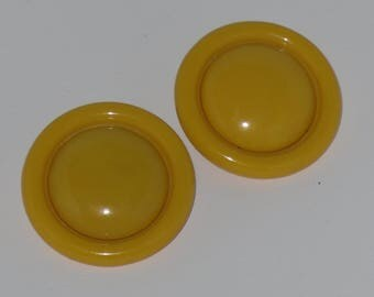Yellow Button Earrings Clip On Jumbo Large Round Mod Vintage