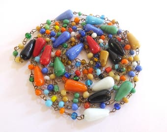 Italian Opera Length Hand Blown Glass Bead Necklace
