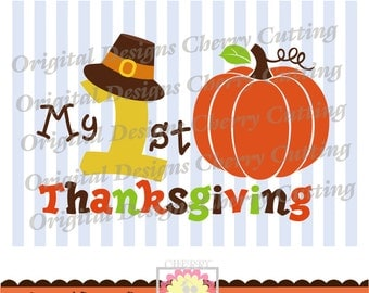 My 1st Thanksgiving,Thanksgiving Number 1 with Pilgrim Hat Silhouette Cut Files, Cricut Cut Files DGCUTTH8 -Personal and Commercial Use