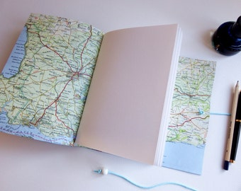 Leather Travel Journal Scrapbook, Custom Map Travel Journal, Third Wedding Anniversary Gift, Memory Journal, hand bound leather journal