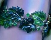 Classic Lisner Moonglow & Rhinestone Oak Leaves Bracelet