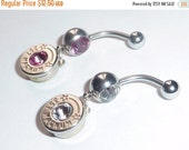 25% OFF SALE Bullet Belly Button Ring. 357 Magnum or 9mm Brass Bullet . YOU Pick