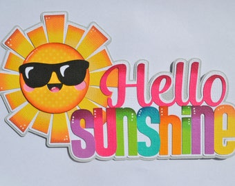 CraftECafe Paper Piecing Hello Sunshine Title for Premade Scrapbook Pages, Layouts, Embellishments, Die Cuts