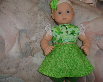 4 Pc Set Itty Bitty Doll Green Happy Frogs Print Dress/Shoes/Headband/Leggings