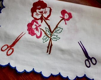 Vintage Linen Runner Dresser Scarf Table Hand Embroidery Roses Scissors Sewing Bright Flowers