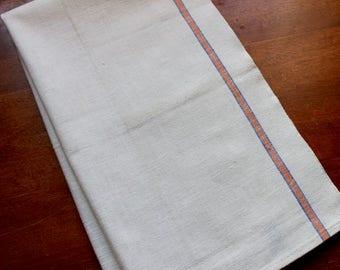 Vintage Linen Dish Towel Blue Orange Stripe Cannon Kitchen Unused