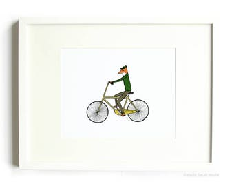 Mr. Fox on a Bicycle - Fox Print, Bicycle Print, Nursery Art, Illustrated Animal, 8 x 10 Illustration Print