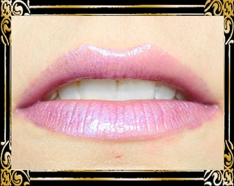 PSYCHE Lip Gloss: 10 mL Tube, Lavender Pink Shimmer Lip Gloss, Iridescent Lip Glaze, Lilac Purple Glitter, Ships Out in 4-7 Days