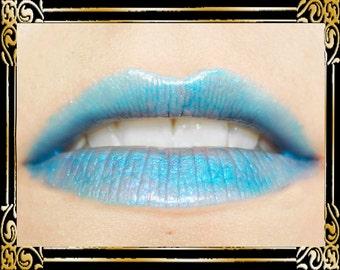 CHIONE Lip Gloss: 10 mL Tube, Electric Blue Glitter Lip Glaze, Iridescent Lip Color, Vanilla Flavor, Ships Out in 4-7 Days