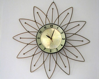 Atomic LUX Starburst Wall Clock - 1950s 1960s - Working Vintage Clock