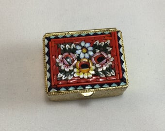 Vintage Mosaic Pill Box,Italy,Pill Storage,Medicine