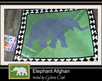 Elephant Afghan, C2C Graph, and Written Word Chart