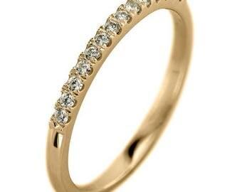 14k Yellow Gold Half Eternity White Diamond Wedding Band, Half Round Style