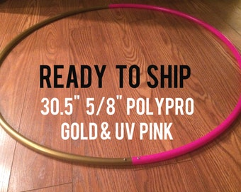 "Ready to Ship Two Tone 30.5"" 5/8"" POLYPRO Dance & Exercise Hula Hoop - uv pink and champagne gold"