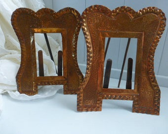Art Nouveau Copper Photo Frame Pair Hand Made Hammered Finish Arts and Crafts
