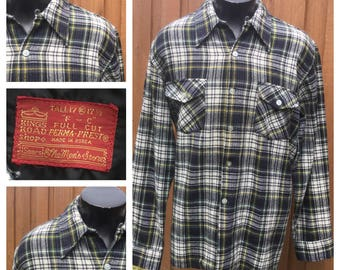 Vintage 1970s Long Sleeve Plaid - SEARS Kings Road Shop - Flannel Shirt With Collar Loop & Horizontal Buttonholes -