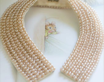 40s Pink Pearl Collar., Extra Wide. Vintage Hand Made Baar & Beards Top Hit EXCELLENT CONDITION! Faux Pearl Sweater Collar Beads Japan