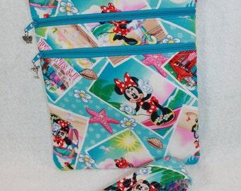 Minnie Mouse Theme Fabric Crossbody Bag w/adj strap