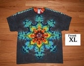 Tie Dye T-Shirt ~ Rainbow Mandala With Black Background ~ C_0067 in Adult XL