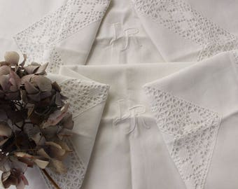 TWO French Antique Linen Pillow Cases...Monogram LR....Hand Crochet Lace Borders.