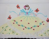 Crinoline Lady Appliqued & Embroidered Pillowcase  Standard Size