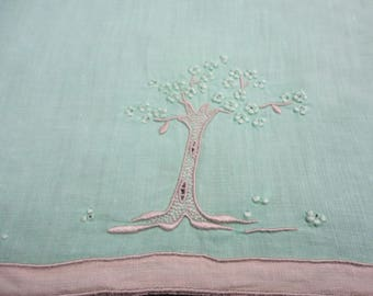 Finger Towel by MARGHAB   Hand Embroidered Mint Green Jacaranda Tree