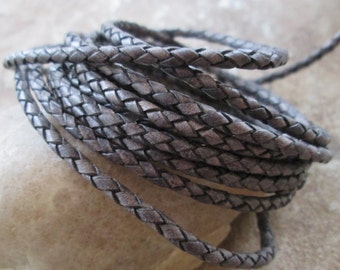 Natural Gray 3MM Bolo Cord Round Braided Leather Lace 1 Yard