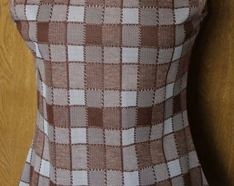 Hipster Western vintage Polyester Tank plaid polyester large