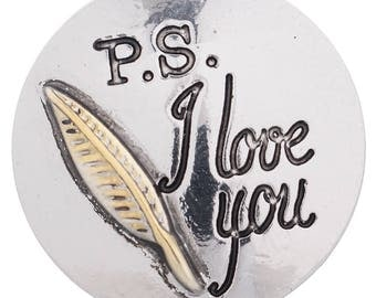 1 PC - 18MM Love You Note Candy Snap Charm Silver Gold Tone KC5198 Cc3367