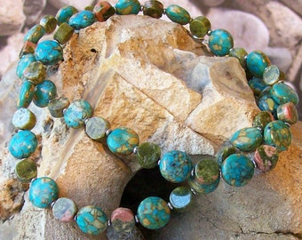 Mosaic Turquoise and Unakite Necklace