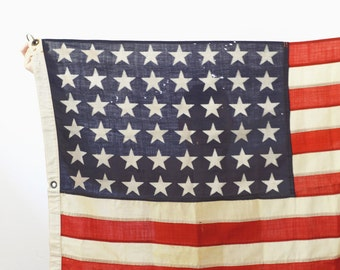 WWII 48 Star Wool American Flag - Large 5.5' USA Flag Made in 1944