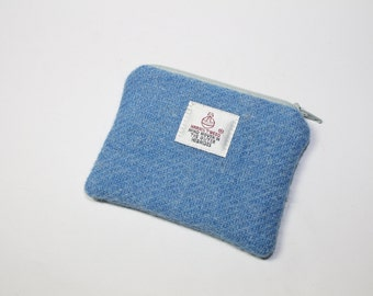 HARRIS TWEED purse, coin purse, change purse, blue change purse