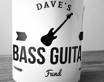 Personalised Bass Guitar Fund Ceramic Money Box Piggy Bank Hand Printed Bassist Four String 4 electric acoustic new cheap xmas christmas amp