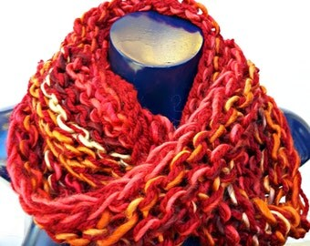 Soft and Cozy Sunset Colours Infinity Scarf - great for winter, cosplay, faire and more!