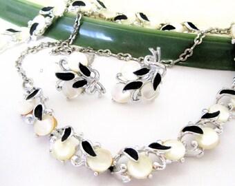 Mother of Pearl Jewelry Set - Black Enamel - Silver Necklace Bracelet Earrings