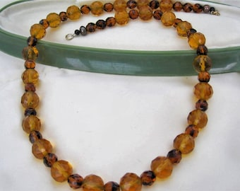 Topaz Crystal Necklace - Glass Faceted - Two Tone Light and Dark - Crystal Beads