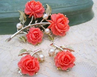 Coral Celluloid Brooch Earrings - Carved Roses - 60's Celluloid Set - Mid Century Jewelry