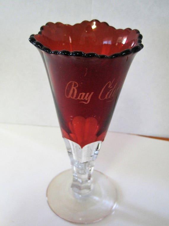 Ruby Flash Glass Vase - Red Signed Souvenir - Bay City Michigan